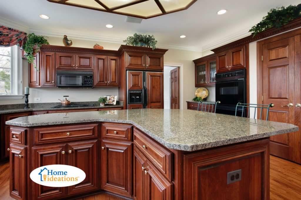kitchen renovation dark cherry cabinets with island