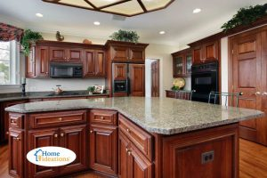 kitchen renovation dark cherry cabinets with island
